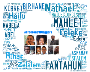 A collage made to highlight the plight of the Zone 9 bloggers during their imprisonment (Cyberethiopia.com)