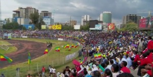 Crowds gathered at Addis Ababa stadium in commemoration of Ethiopian National Flag Day (Photo: Diretube)