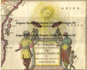 17th century era depiction of Ethiopians based on a 16th century map showing modern day Ethipoia and Eritrea drawn by famed Belgian cartographer Abraham Ortelius. The images include a women wearing a green yellow and red shawl and dress. Described as the colours of the people, it is proof that the flag predates the expansionist era that was the base for modern Ethiopia's creation (Image: Emperor Tewodros Library Washington DC)