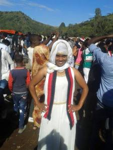 Mahlet Fantahun at the Irecha festival clad in the Gadaa Oromo scarf that has sparked a debate (Photo credit: Abdi Lemessa)