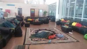 Members of the Ethiopian women's U-20 national team spending the night stranded in a lobby at Yaounde's International Airport (Photo credit: Diretube)