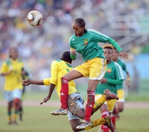 Captain of the Ethiopian women's national team Bezuhan Endale in action