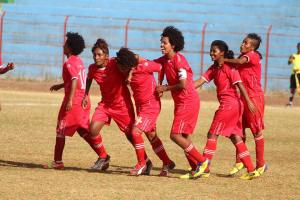 Dashen Beer FC's women celebrate scoring a goal in an Ethiopian Premier League encounter (Photo credit: Dashen Beer FC's official Facebook page)