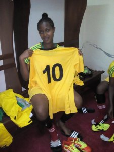 Loza Abera, scorer of six goals for Ethiopia in qualification for the 2016 women's U-20 World Cup. Loza is the top scorer in African qualifying