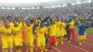 Members of the Ethiopian women's U-20 national team celebrate after their 2-1 victory over Cameroon (Photo credit: Arega Kefelew of Debub TV)