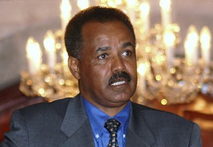 File photo of Eritrean President Isaias Afewerki in Sana'a